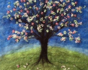 Tree,Spring,Embroidery,Springtime,Blossom,Picture,Felt,Wool,Landscape,Countryside,Nature,Pink,Flowers,Embroidered Flowers,Blossom Tree,