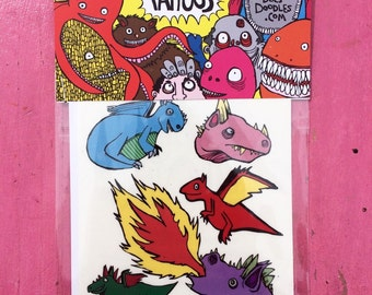 Dragons Temporary Tattoo Pack. Childrens Birthday Christmas Present Stocking Filler.