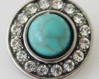 CZ Round Turquoise   ~ Snap It SKB8734   Popper Chunk Snap Button Interchangeable 18mm 20mm snap