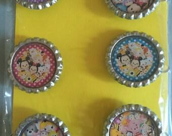 Bottle cap magnet set- Tsum Tsum