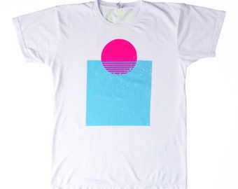 GEO SUNSET hand screen printed t-shirt