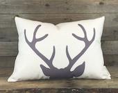 Modern Deer Pillow, Housewarming Gift, Rustic Decor, Antler Pillow, Throw Pillow, Printed Pillow, Modern Pillow