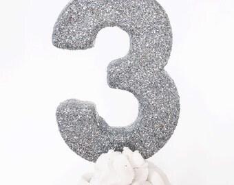 Silver glitter  #3 birthday candle- fine glitter