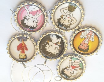 Betty Boop Wine Glass Charms, Betty Boop, Party Glass Charms, Drink Tags, Fun, Retro, Humorous, Cute, Hostess Gift, Housewarming Gift