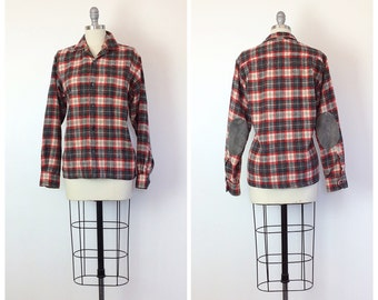 50s St. Mary's Wool Men's Button Up - 1950s Vintage Red and Grey Plaid Shirt - Large - Size 14