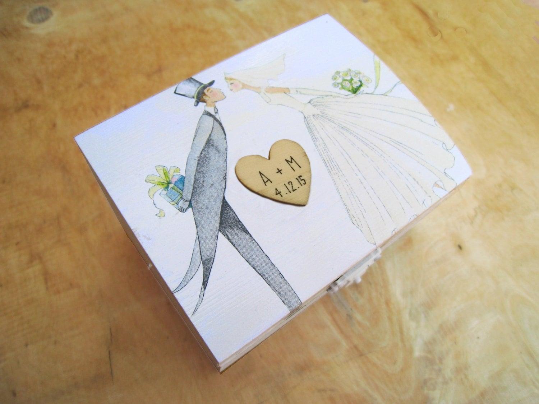 White Ring Bearer Box Rustic Wedding Woodland Wooden Box Gift