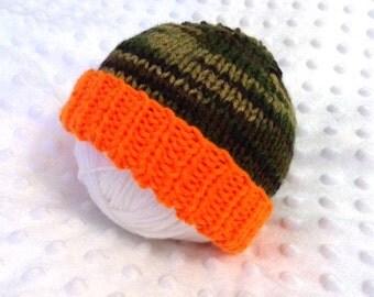 Orange Camouflage Baby Hat -  Orange Camo Baby Hat - Orange Camo Newborn Hat - Camouflage Newborn Photo Prop