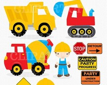 """50% OFF SALE Construction Digital Clipart : """"CONSTRUCTION Clipart"""", Trucks ClipArt, Dump Truck clip art, Personal & Commercial Use, instant"""