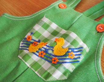 Baby green 70s dungarees sz 0 - 1