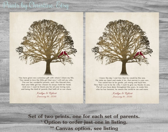 Wedding Day Gift For Parents : Gift FOR PARENTS on Wedding Day Thank You Gift from Bride and Groom ...
