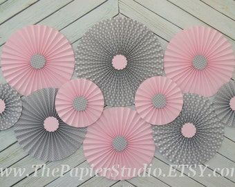 Pink, Grey and Polka Dot Set of 10 (Ten) paper fans/rosettes, decorations for Girl Baby Shower,Birthday Party or Wedding