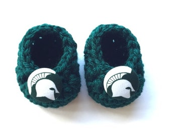 Michigan State baby booties, Spartans baby shower gift, baby shoes, crochet baby booties, booties for baby, crochet baby shoes