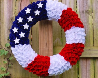 Patriotic Wreath, Felt Wreath, Fourth of July Wreath, Flag Wreath, Memorial Day Wreath, Military Wreath, Veteran's Day Wreath