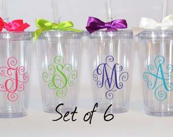 Bridesmaid Gift, Wedding Tumblers, Wedding Party Gifts, Set of 6 tumblers with initial monogram, your choice of initials and colors