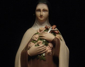 antique French statue of Saint Therese of Lisieux in chalkware