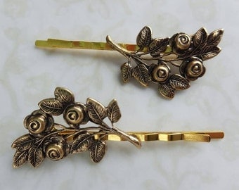 Rose Bouquet, Gold Brass Hair Pins, Bobby Pins, Romantic Wedding Flowers, Hair Clip, Rustic, Boho, Woodland, Nature