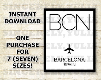 BCN Barcelona  Airport Code Poster. International Airport Code. Wall Art Print. Sign. Digital Printable. You Print. Purchase 1 Get 7 Sizes.