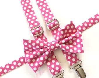 Pink polka dot suspenders, pink suspenders, pink bow tie, polka dot bow tie, mens suspenders, mens bow tie, baby suspenders, baby bow