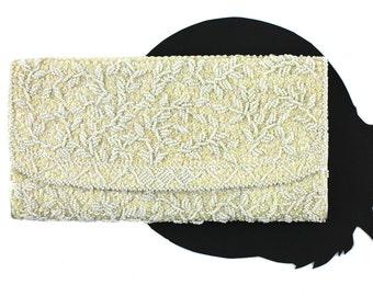 Vintage Ivory Fully Beaded Floral Clutch