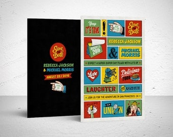 Printable Save the Date / comic book save the date, unique save the date, retro comic, digital file, DIY, printable, retro wedding