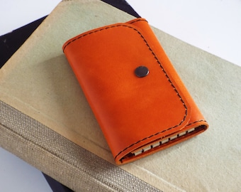 Leather key wallet. Leather key case. Leather key holder. Leather key chain. Orange key wallet. Gift for her under 20 usd.