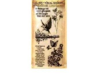 Tim Holtz FLIGHTS OF FANCY Bird Butterfly Flower Dreams Clear Stamp Set 1-cc02
