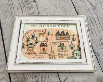 "Framed North Pole Map, Measures 6 1/2"" wide X 5"" high, Wood White-wash Frame"