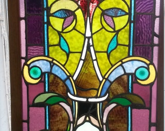 """unique, vintage stained glass window with wood frame. 37"""" x 23"""""""