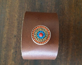 Handmade Brown Cowhide Leather Cuff With A Snap Jewel RM361