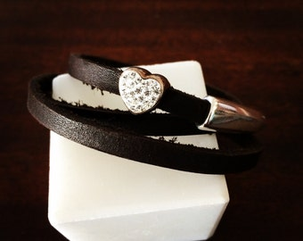 Chocolate Leather Wrap Bracelet With A Sterling Silver Czech Crystal Heart RM292