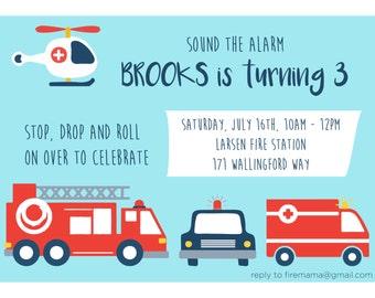 Emergency Vehicle Birthday Invitation
