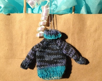 Mini Knitted Sweater Ornament, Tiny Turtleneck Sweater, Navy and Turquoise Sweater Ornament, Hand Knit Mini Turtleneck, Christmas Decoration