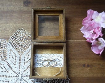 Rustic Ring Bearer Box with Lace, Wedding Ring Box Personalized Ring Pillow Alternative Ring Box Custom Engraved Wooden Ring Box Ring Holder