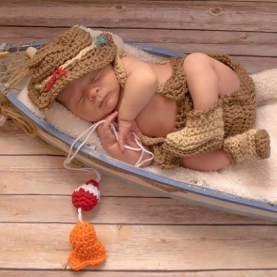 Newborn fishing set fisherman outfit newborn by for Baby fishing outfit