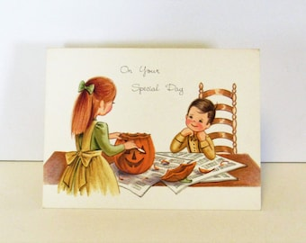 Vintage Halloween/Fall Special Occasion Greeting Card