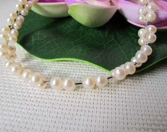 """15"""" 5-6mm White Potato Freshwater Pearl Necklace A39"""