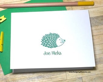 Personalized Stationery - Hedgehog Note Card Set, Green Kids Stationery Set, Childrens Note Cards Embossed Hedgehog Stationery Set DM130