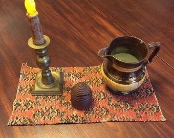 Antique Carpet Piece Paisley Primitive Decor