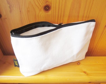 DIY Plain Blank Big Canvas Pencil Cosmetic Zipper Bag, Pouch, Decoupage, blank own design bag, kids crafts, ShineKidsCrafts