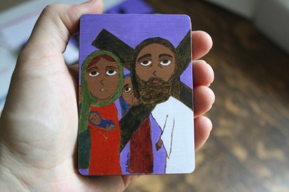 "2.5"" X 3.5"" Jesus meets the Holy Women Byzantine Folk style icon on wood by DL Sayles"