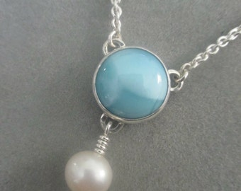 Summer Sterling Silver Larimar & Pearl Pendant #PDT116SS