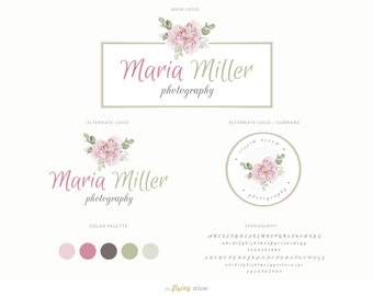 Watercolor Mini Floral Logo Design Branding Kit Package - Floral Frame Logo for Photographers, Modern Photography Fashion Blog Logo Design