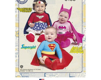 Super Hero Baby Costume Pattern. Cheapest Shipping. Baby Wonder Woman Costume Pattern. Batgirl, Supergirl Pattern Simplicity 8193 Sz:XXS-L.