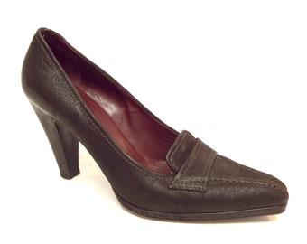 Vintage PRADA Brown Size 8 1/2 Leather Heels Pumps 39 Shoes 8.5