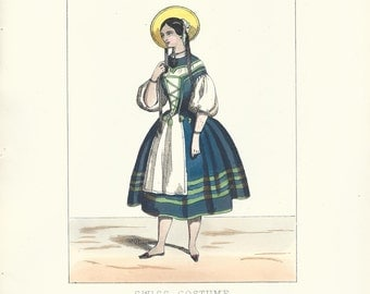 Vintage Fashion Print Hand Colored Lacy's Dramatic Costumes Swiss Costume