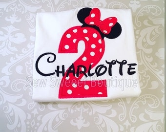 Minnie Mouse number, minnie topper, minnie birthday shirt, second birthday, number two, Minnie Mouse second birthday, girls minnie shirt