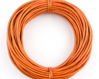 Orange Metallic Round Leather Cord 1 mm 25 meters (27.34 yards)