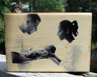 7x10 FAMILY PHOTO GIFT: New Baby, Mother's Day, Father's Day, Personalized Gift, Personalized Photo Block, Photo Print Wood, Photo on Wood