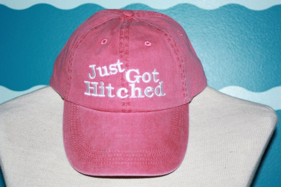 Bride and Groom Ball cap - Just got Hitched baseball cap - wedding ball cap - Couple ball hat - Embroidered baseball hat