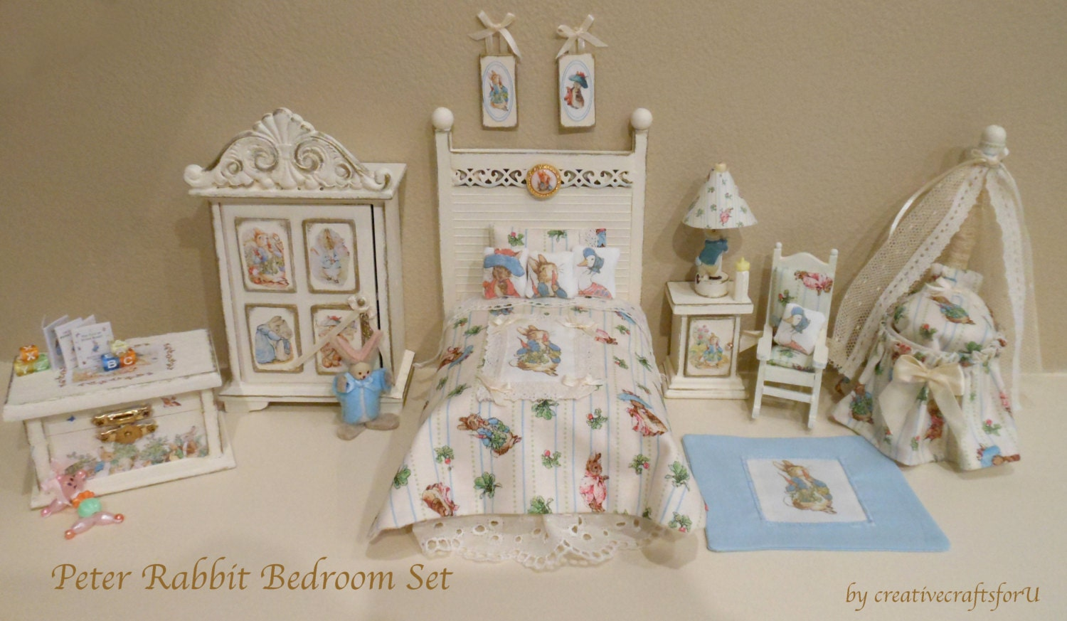 Beatrix Potter Peter Rabbit Dollhouse Bedroom Nursery Complete